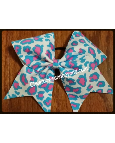Pink Blue White Leopard Cheer Bow
