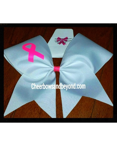 Solid White Breast Cancer Cheer Bow*Option to Personalize*