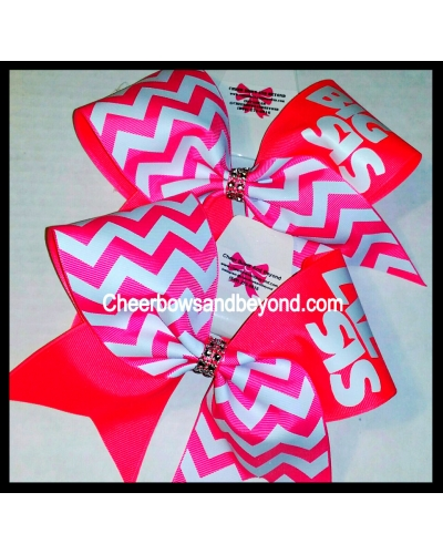 Big Sis/Lil Sis or BFF Chevron Tick Tock Cheer Bow*Several Colors*