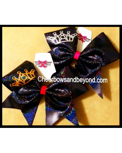 Holographic Crown Cheer & Dance Bows *Several Colors*