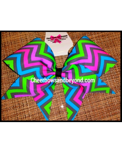Neon Pastel Chevron Cheer and Dance Bow