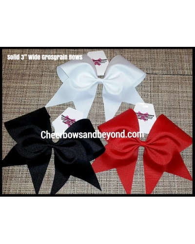 "Solid Grosgrain 3"" Large Cheer Bow*Several Color/Personalize"