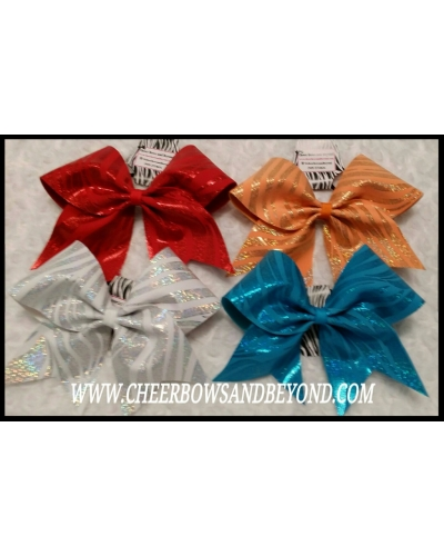 Holographic Zebra Cheer Bows *Several Colors*