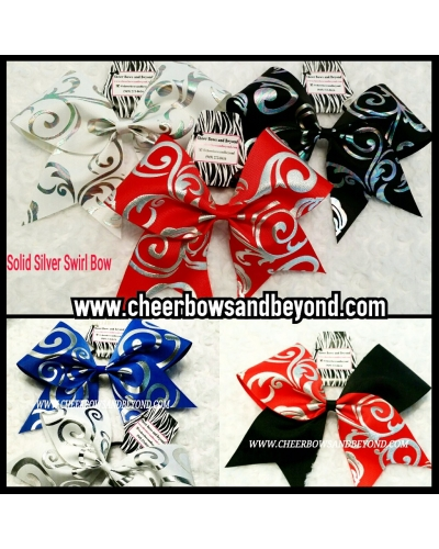 Solid Silver Swirl Cheer Bow *Several colors and tick tock option*