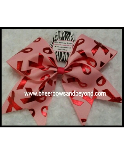 Pink Breast Cancer Foil Cheer Bow