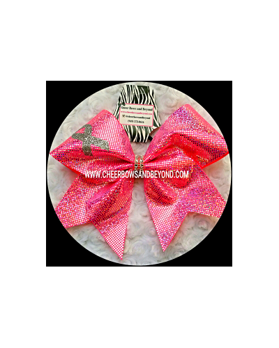 Holographic Neon Pink Breast Cancer Bow*Personalize Option*