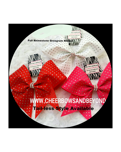 Full Rhinestone Grosgrain Cheer Bow*Several Colors*