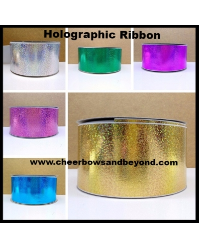 Holographic Grosgrain Bow or Ribbon sold by the yard option