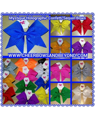 Mystique Holographic Confetti Sequin Cheer & Dance Bows Customize