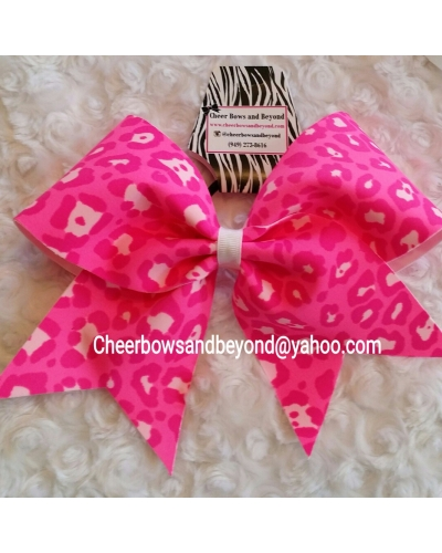 Neon Pink Cheetah/Leopard Cheer Bow*Custom Options *