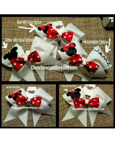 Minnie Mouse Solid Glitter Head Cheer bows*Personalize Option*
