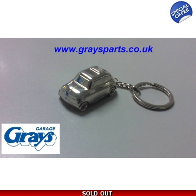 Fiat 500 Keyring Chrome Finish | Fiat Keyring Chrome 500 | Fiat Gifts