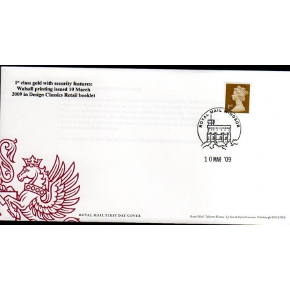 20090310 1st class gold mixed booklet stamp FDC 2009