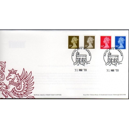 20090331 Machin definitives 17, 22, 62, 90p FDC 31 March 2009