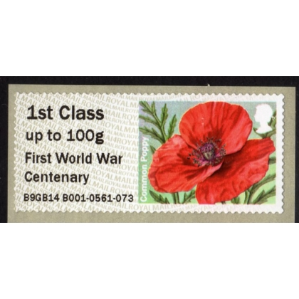 FT10-1 Poppy Faststamps 1st World War Cent'y 1st class