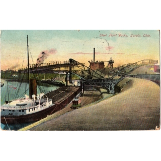 USA 1910 Postcard Lorain OH Steel Work..