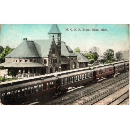 Railroad Station M C R R Train Niles, Michigan
