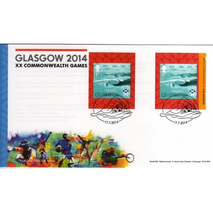 3625 Commonwealth Games booklet stamps on FDC, 2 phosphor varieties