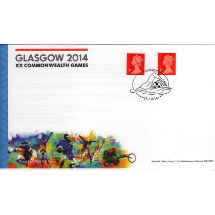 20140717 Machin 1st FDC ex Games booklet, 2 phosphor varieties