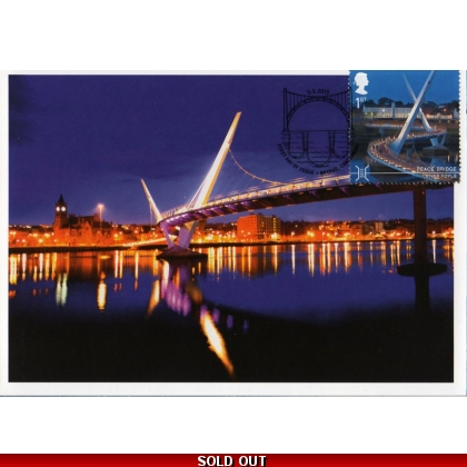 3696mxn Peace Bridge Londonderry Maximum Card - Night view