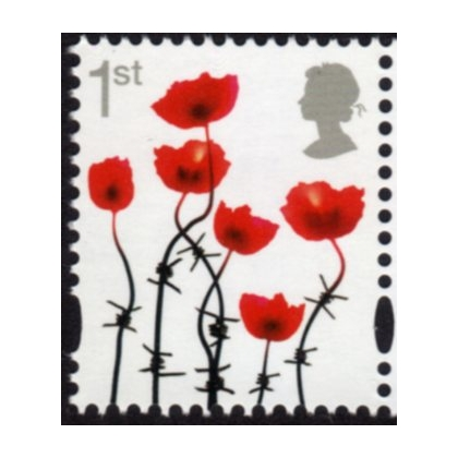 3717-a Lest We Forget Poppy - gummed from 2016 WWI PSB