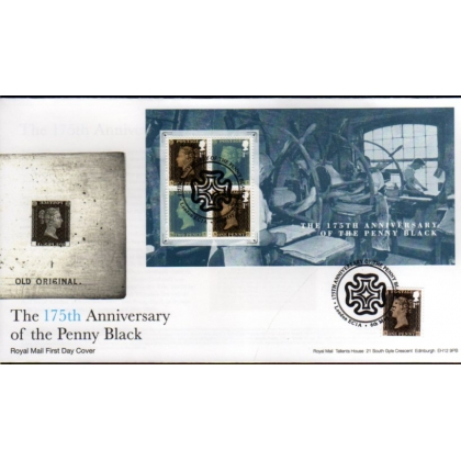 3709ff Penny Black Anniv Miniature Sheet & booklet FDC