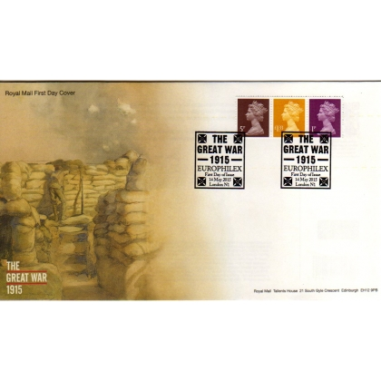 20150514 FDC Set of 3 Machin Definitives from World War I Centenary PSB