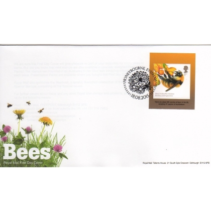 3743f British Bees 1st class FDC self-adhesive ex booklet 2015