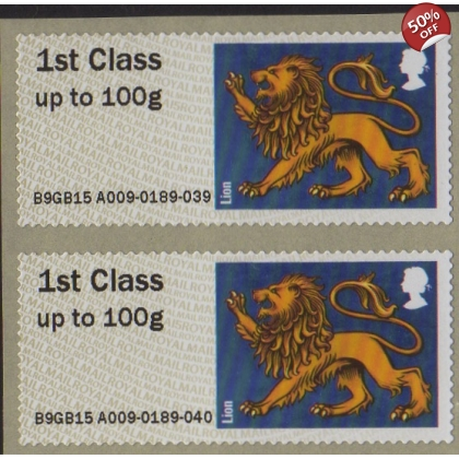 FS20d Heraldic Beasts Lion Post and Go pair from single-design printing