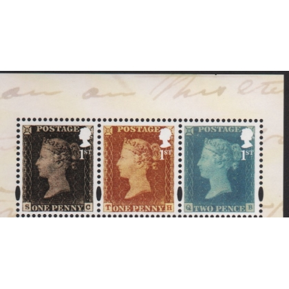 3807-9 1st class x3 1d black, 1d red, 2d blue stamps from PSB