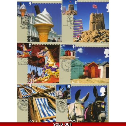 2734 Beside the Seaside set of 6 PHQ stamp cards special postmarks