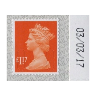 3117 £1.17 Machin Definitive 2017 on S..