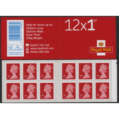 MF 9a.7 Booklet 12x 1st deep scarlet Machins M17L Security Backing Paper 2