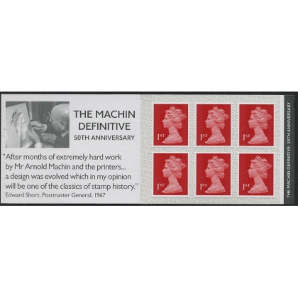 MB19 Machin Anniversary booklet 6x 1st class deep scarlet M17L on SBP1