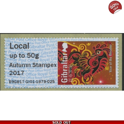 FZZ03 Gibraltar Year of the Rooster Post & Go Autumn Stampex 2017 Local letter
