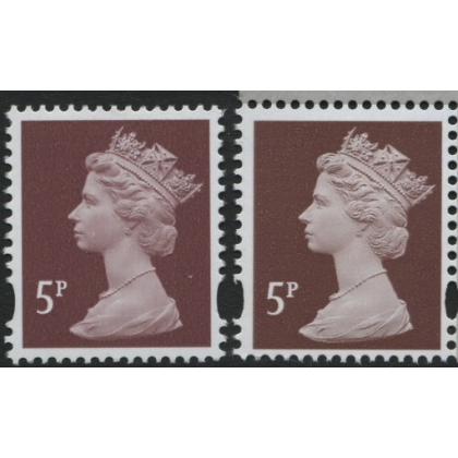 Y1670-17 5p red-brown new print from Machin Anniversary PSB 2017