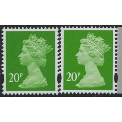 Y1678-17 20p bright green new print from Machin Anniversary PSB 2017