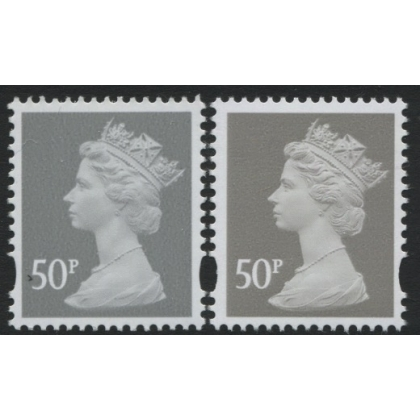 Y1717-17 50p grey new print from Machin Anniversary PSB 2017