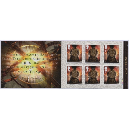 MB20 Game of Thrones Iron Throne 6 x 1st class self-adhesive retail booklet