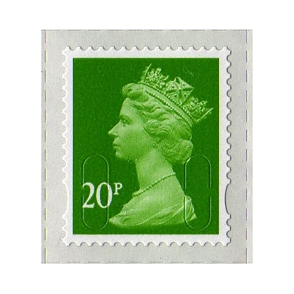 3020.2 20p lt green MAIL M12L 2013 issue