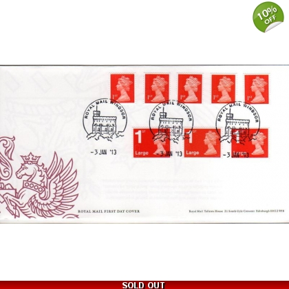 20130103 1st & 1st Large red Machin Definitives FDC