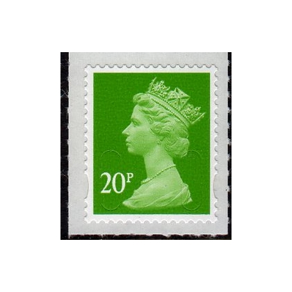 3020 20p light green Machin security definitive stamp