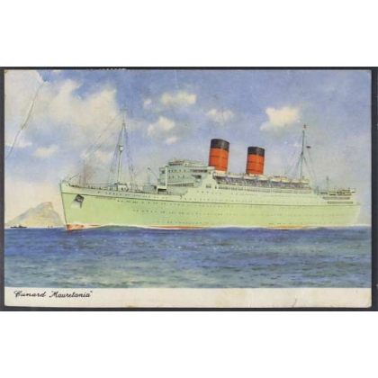 Cunard 'Mauretania' used 1965 colour postcard