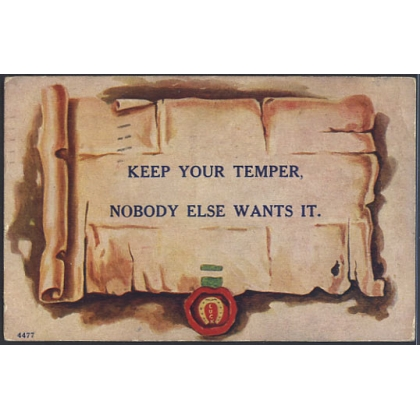 Keep your temper - message card
