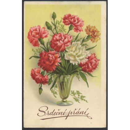 Czech greetings card 1948 - carnations