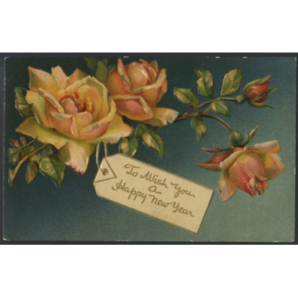 Happy New Year roses embossed postcard