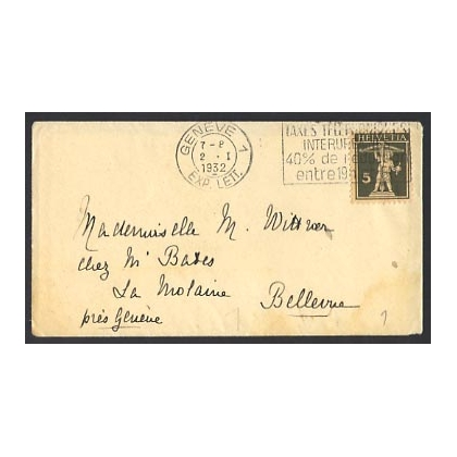 Switzerland 1932 small cover with insert