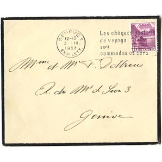 Switzerland 1937 mourning envelope