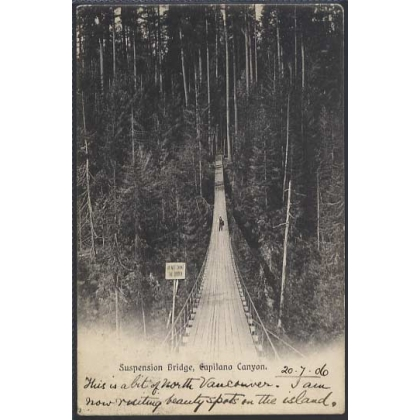 Canada Capilano Canyon Bridge 1906 postcard