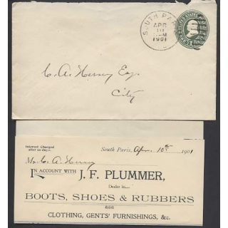 US 1c green pre-stamped envelope South..